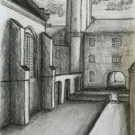 Houtskool tekening Klooster
