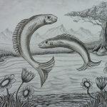 Houtskool tekening vissen