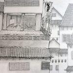 Inkt tekening Japanse stad