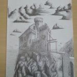 Potlood tekening kasteel