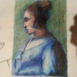 Tekening Jan Vermeer: Brieflezende vrouw in het blauw