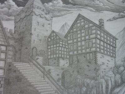 Tekening fantasie stad